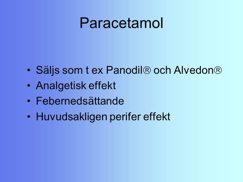 Paracetamol Säljs som t ex Panodil och Alvedon Analgetisk effekt