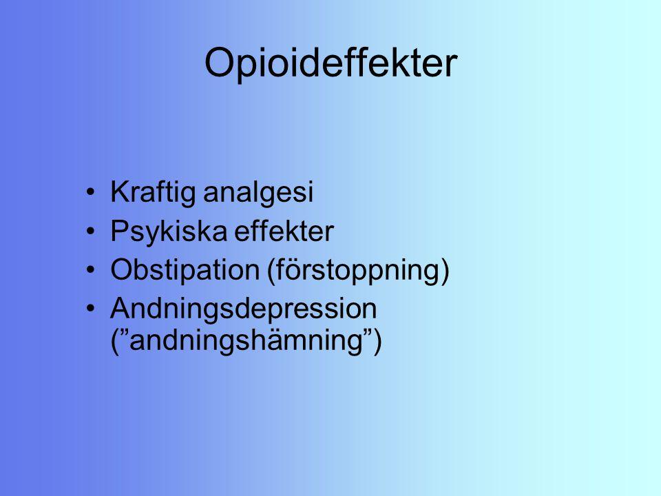 Opioideffekter Kraftig analgesi Psykiska effekter