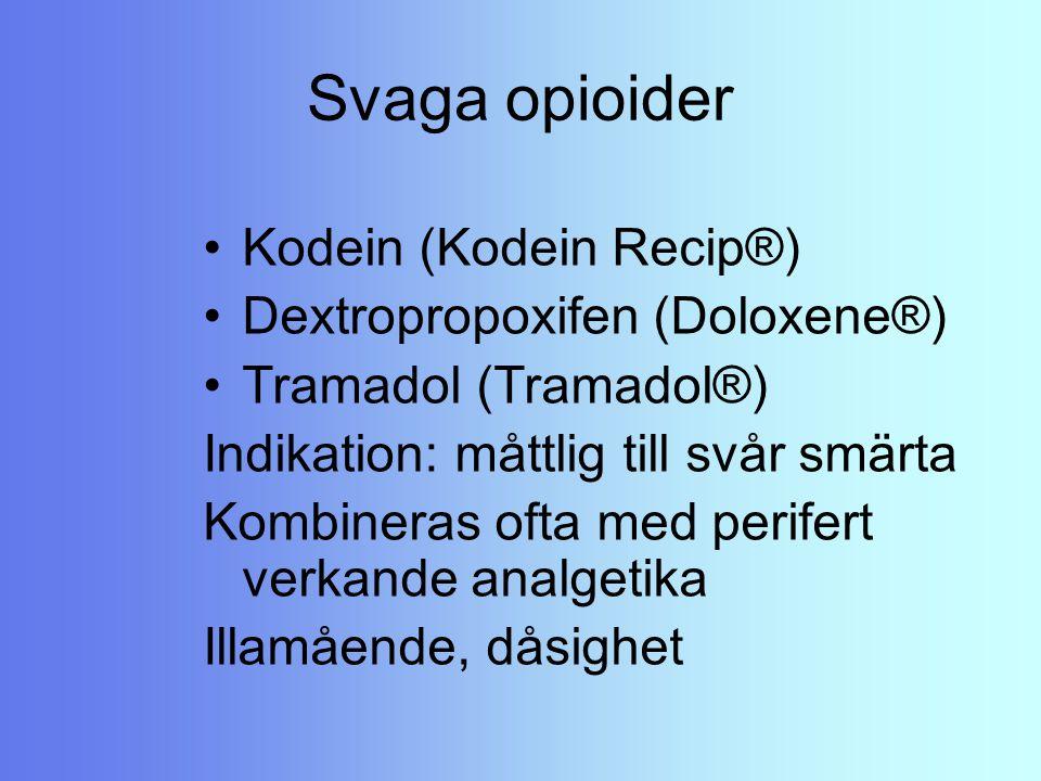 Svaga opioider Kodein (Kodein Recip®) Dextropropoxifen (Doloxene®)