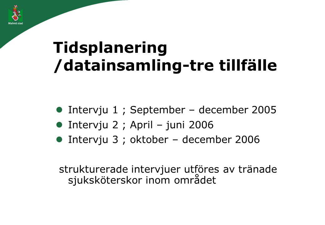 Tidsplanering /datainsamling-tre tillfälle