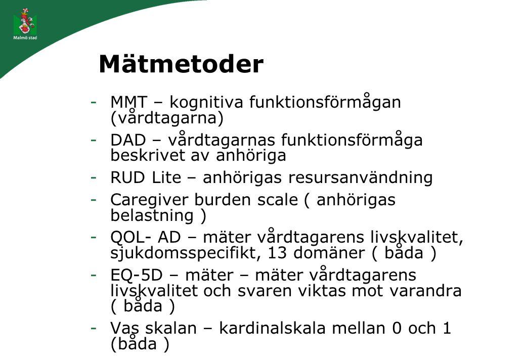 Mätmetoder MMT – kognitiva funktionsförmågan (vårdtagarna)