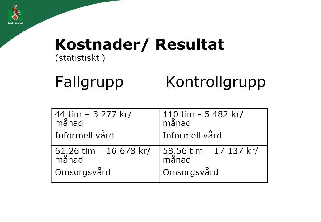 Kostnader/ Resultat (statistiskt ) Fallgrupp Kontrollgrupp