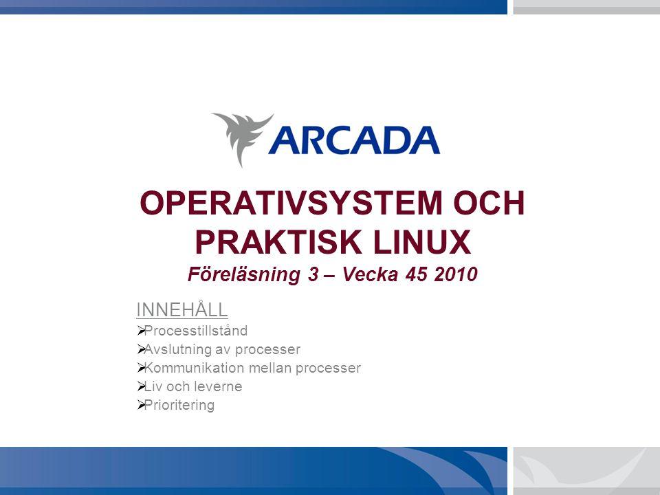 OPERATIVSYSTEM OCH PRAKTISK LINUX Föreläsning 3 – Vecka 45 2010