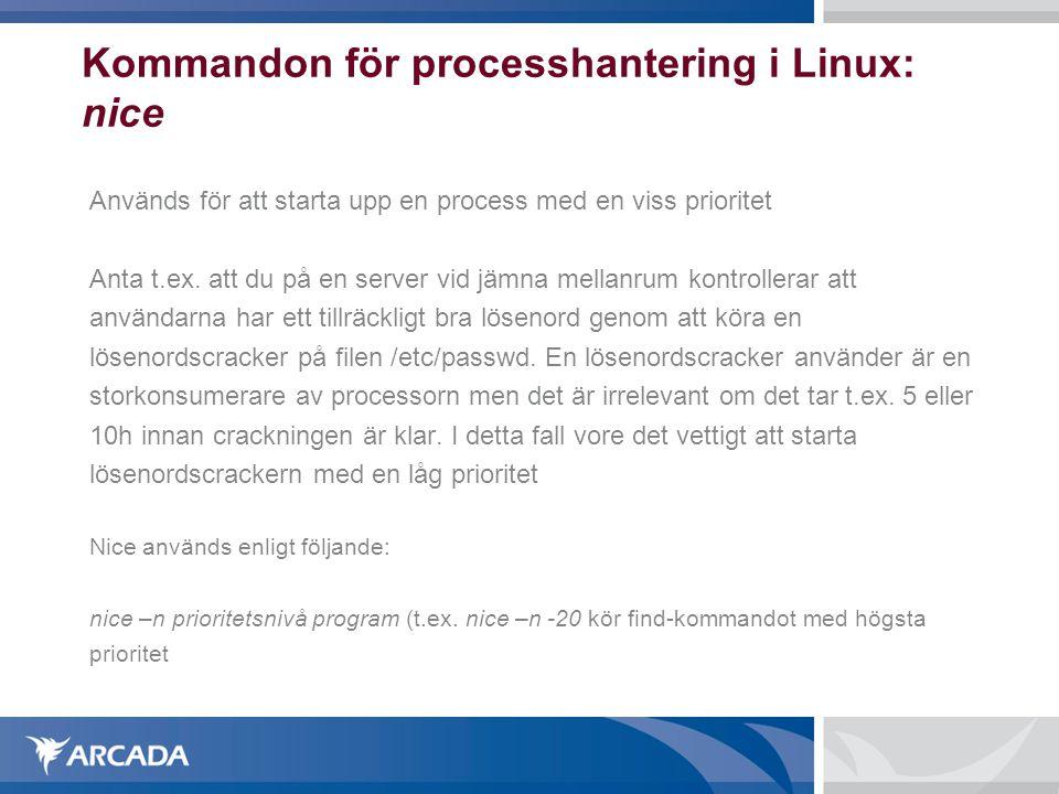 Kommandon för processhantering i Linux: nice