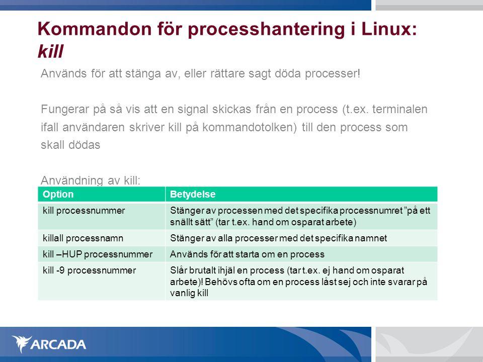 Kommandon för processhantering i Linux: kill