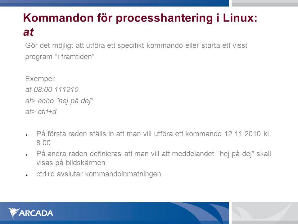 Kommandon för processhantering i Linux: at