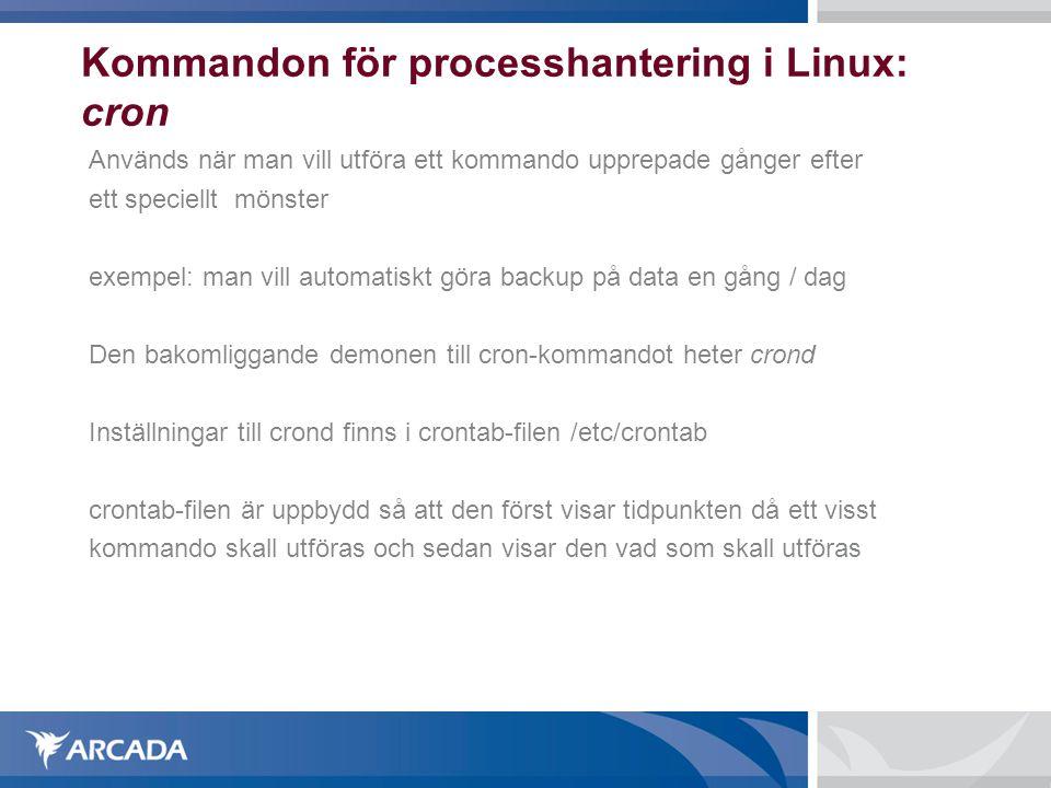 Kommandon för processhantering i Linux: cron