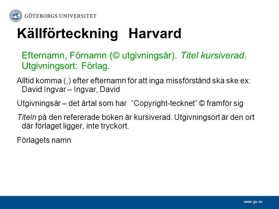 Källförteckning Harvard