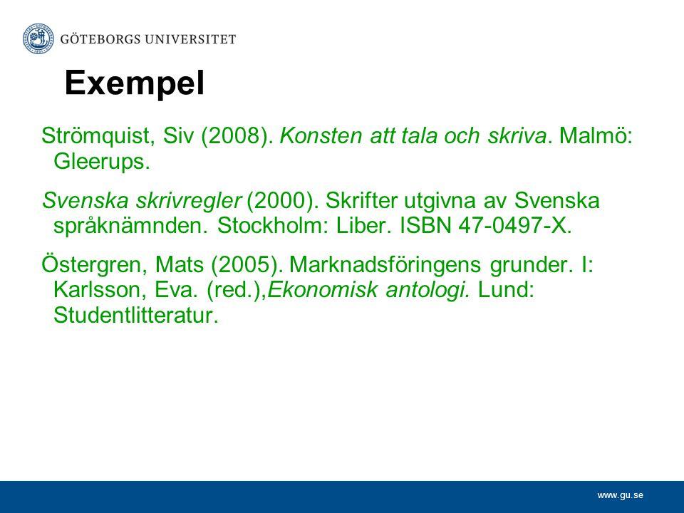 Exempel Strömquist, Siv (2008). Konsten att tala och skriva. Malmö: Gleerups.
