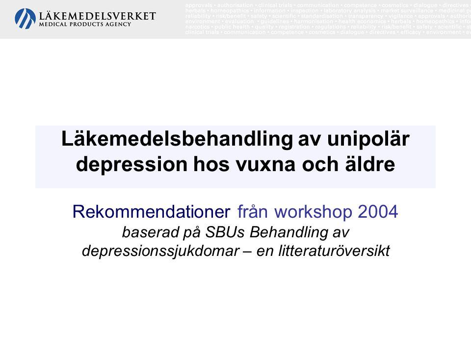 Läkemedelsbehandling av unipolär depression hos vuxna och äldre