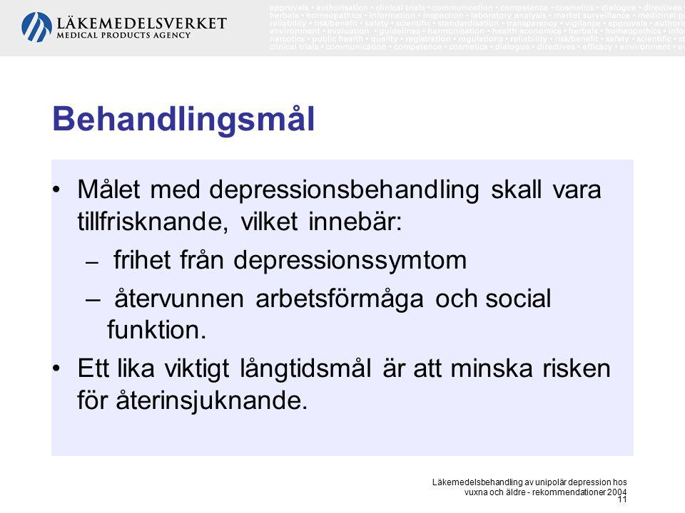 Behandlingsmål Målet med depressionsbehandling skall vara tillfrisknande, vilket innebär: frihet från depressionssymtom.