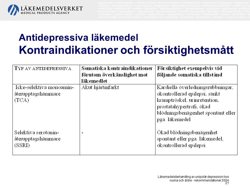 Antidepressiva läkemedel Kontraindikationer och försiktighetsmått