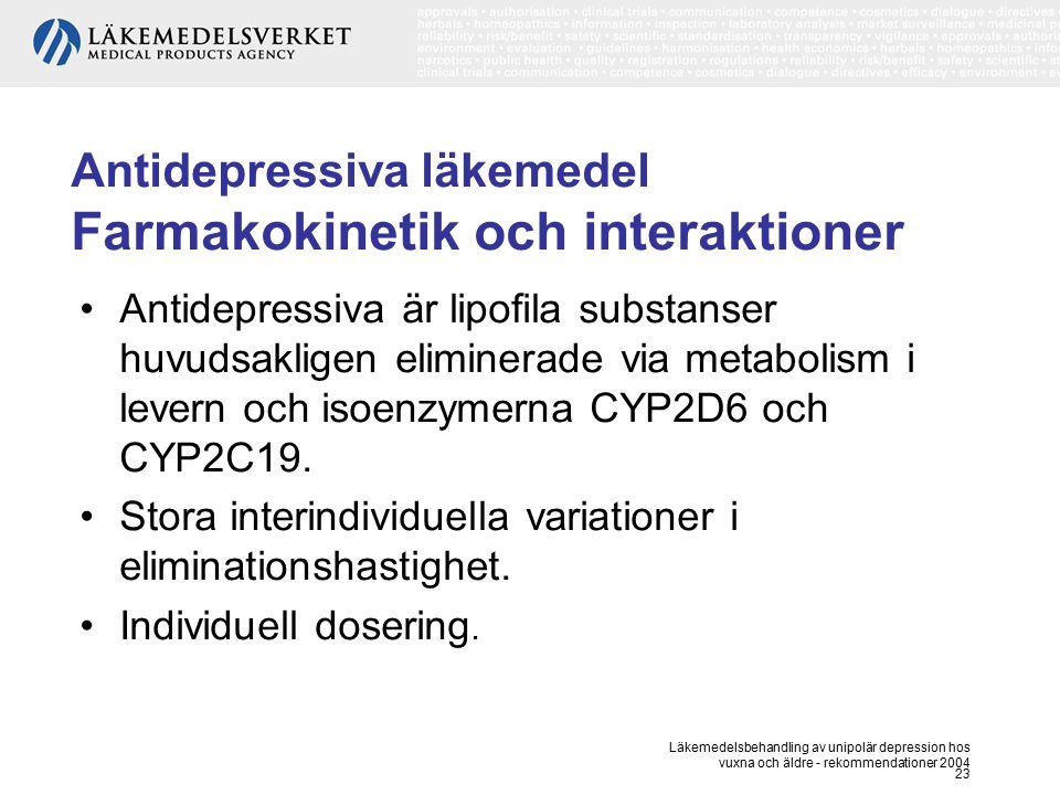 Antidepressiva läkemedel Farmakokinetik och interaktioner