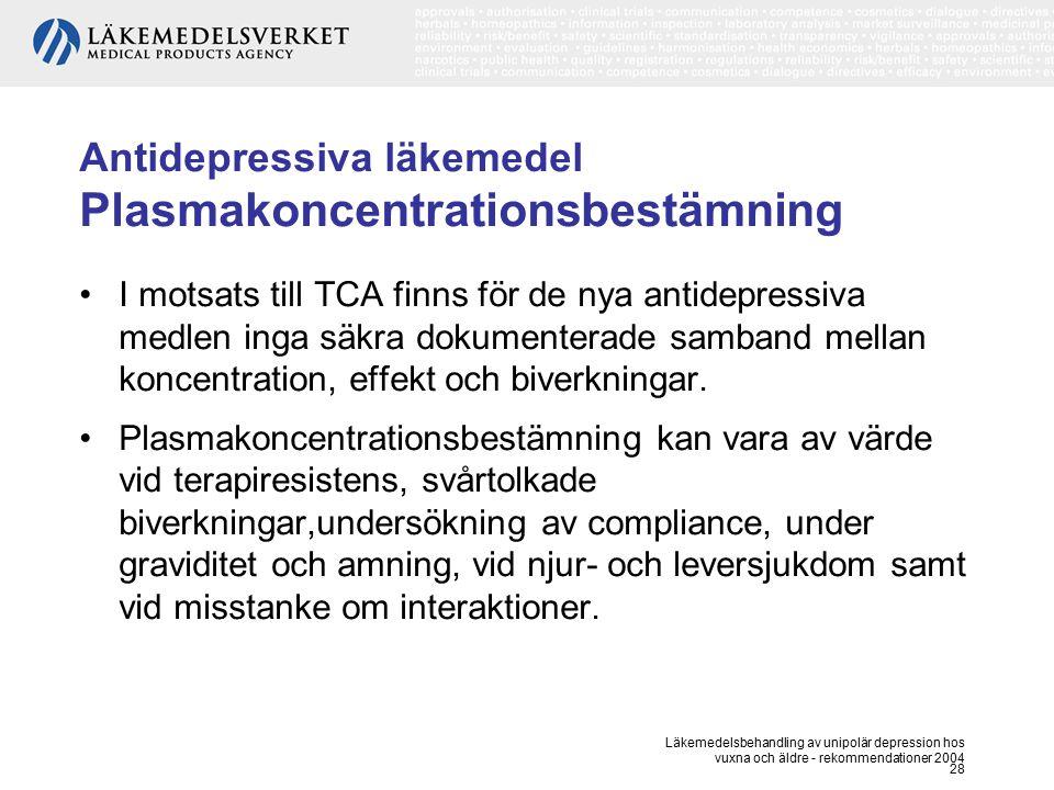 Antidepressiva läkemedel Plasmakoncentrationsbestämning
