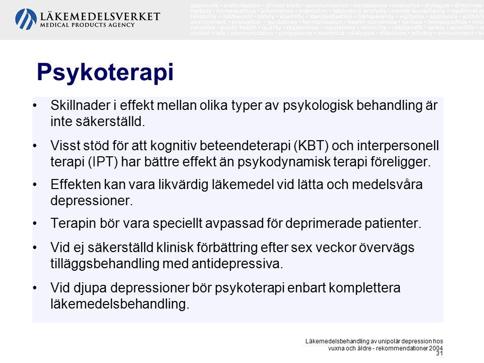 Psykoterapi Skillnader i effekt mellan olika typer av psykologisk behandling är inte säkerställd.