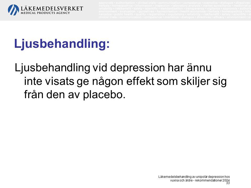 Ljusbehandling: Ljusbehandling vid depression har ännu inte visats ge någon effekt som skiljer sig från den av placebo.