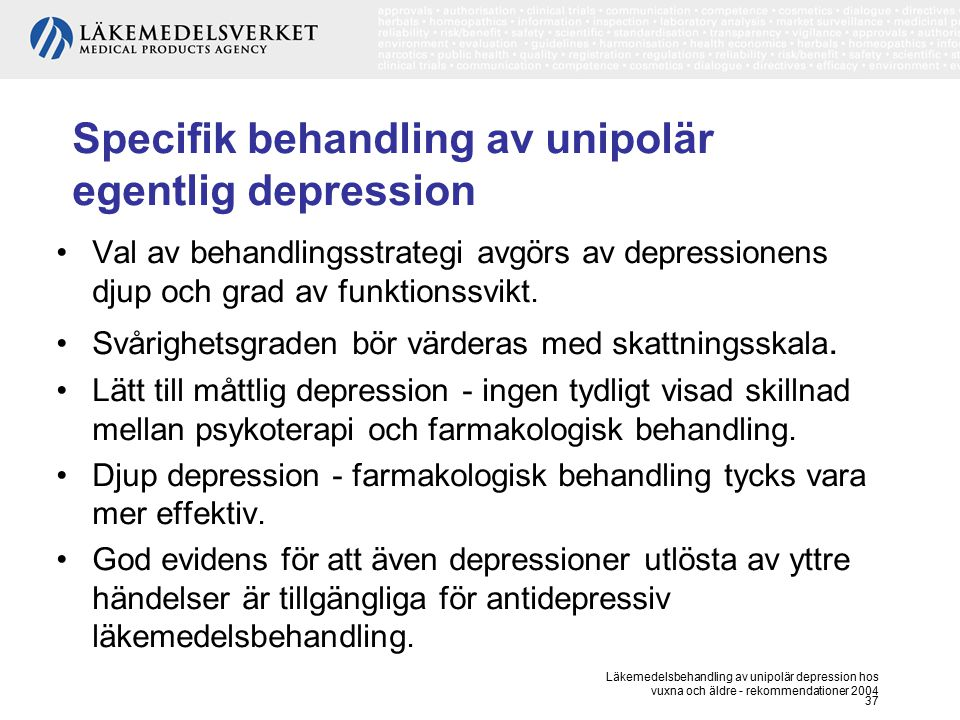 unipolär depression behandling