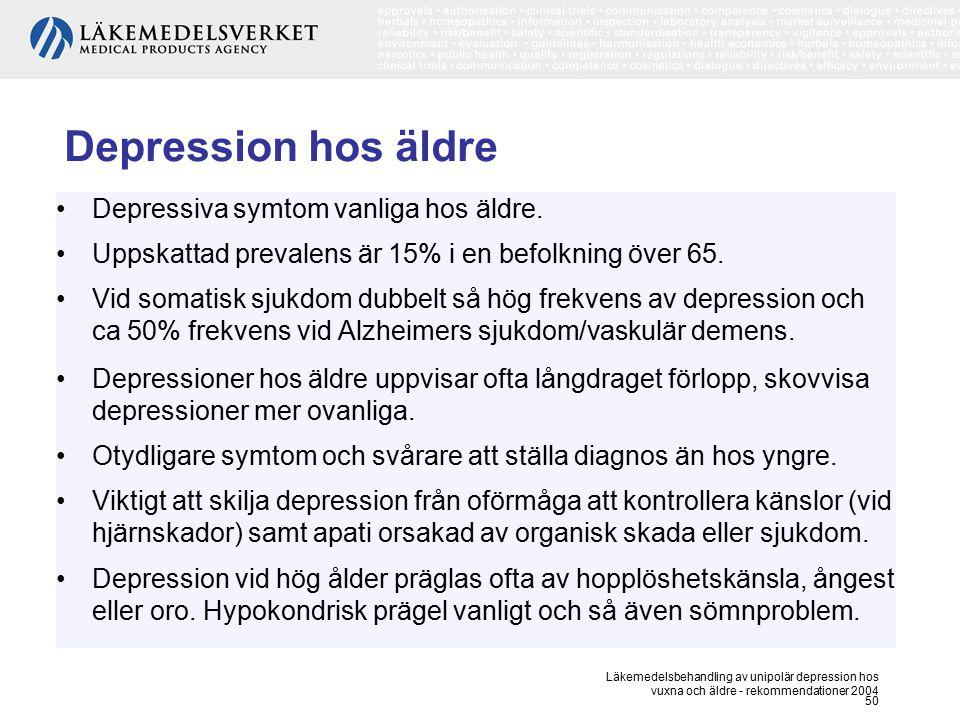 Depression hos äldre Depressiva symtom vanliga hos äldre.