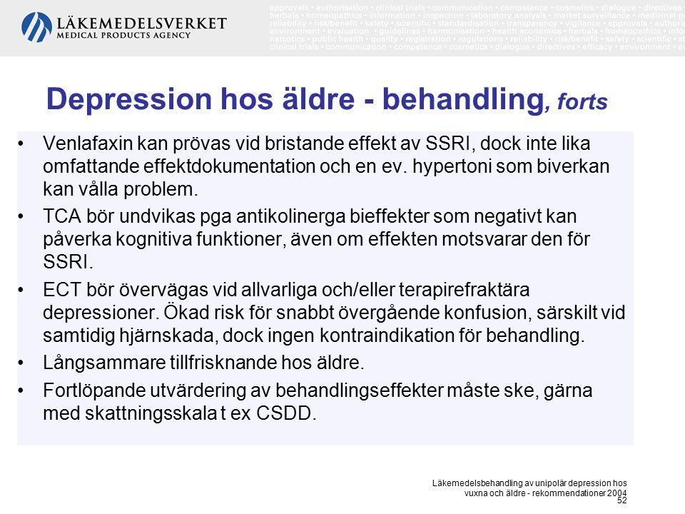 Depression hos äldre - behandling, forts
