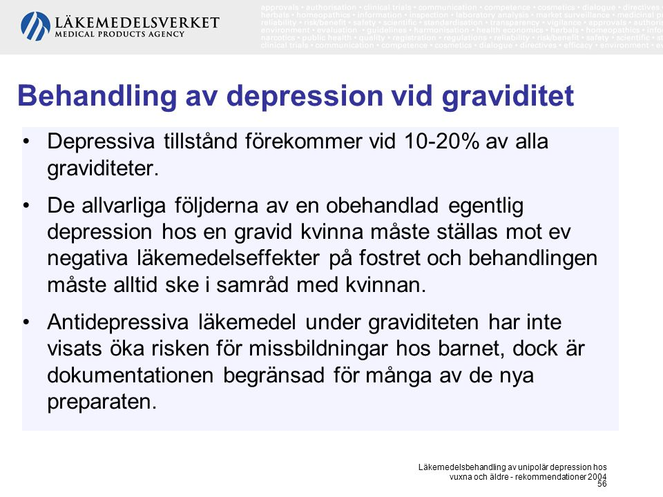 Behandling av depression vid graviditet