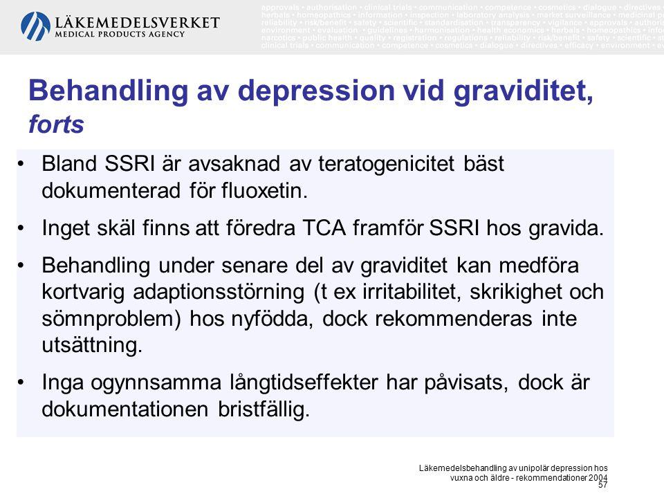 Behandling av depression vid graviditet, forts