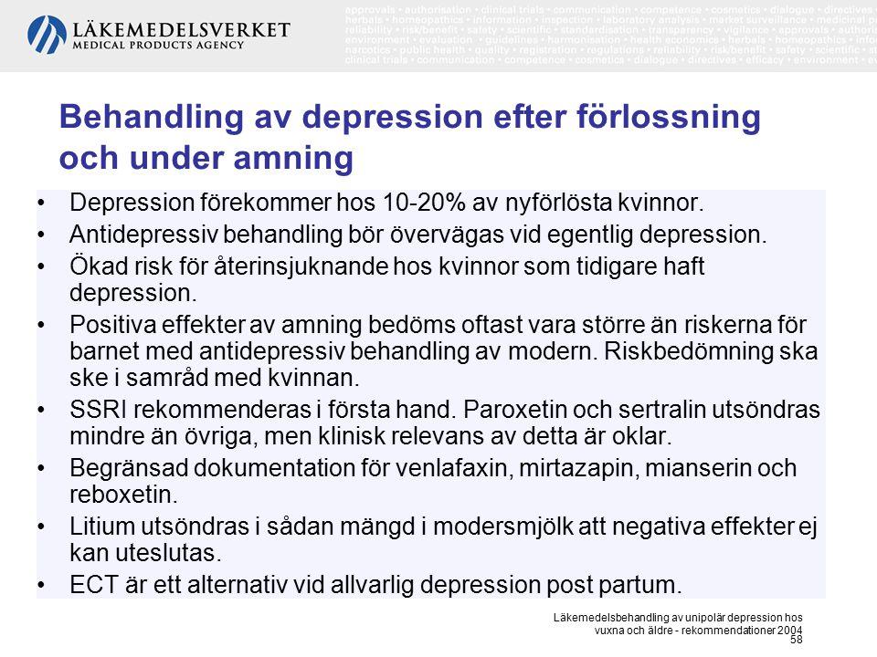 Behandling av depression efter förlossning och under amning