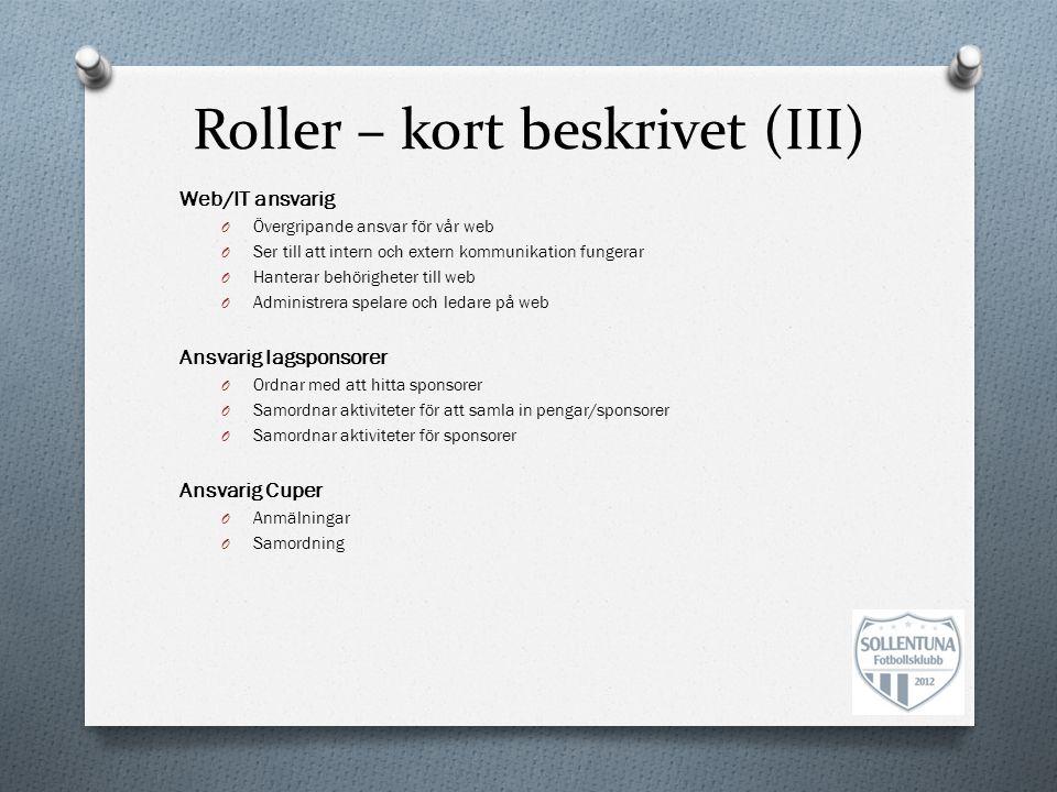 Roller – kort beskrivet (III)