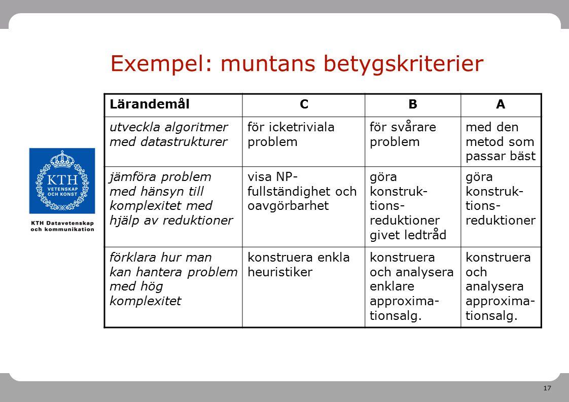 Exempel: muntans betygskriterier