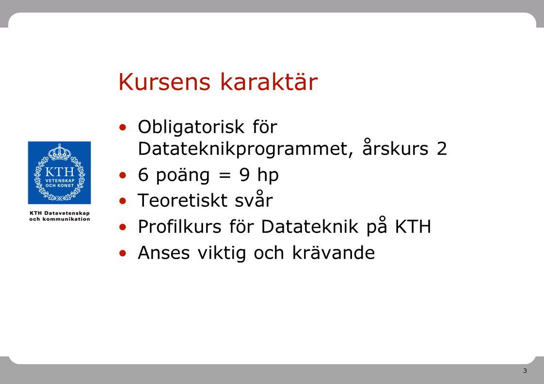 Kursens karaktär Obligatorisk för Datateknikprogrammet, årskurs 2