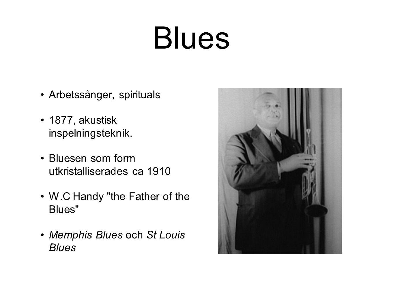 Blues Arbetssånger, spirituals 1877, akustisk inspelningsteknik.