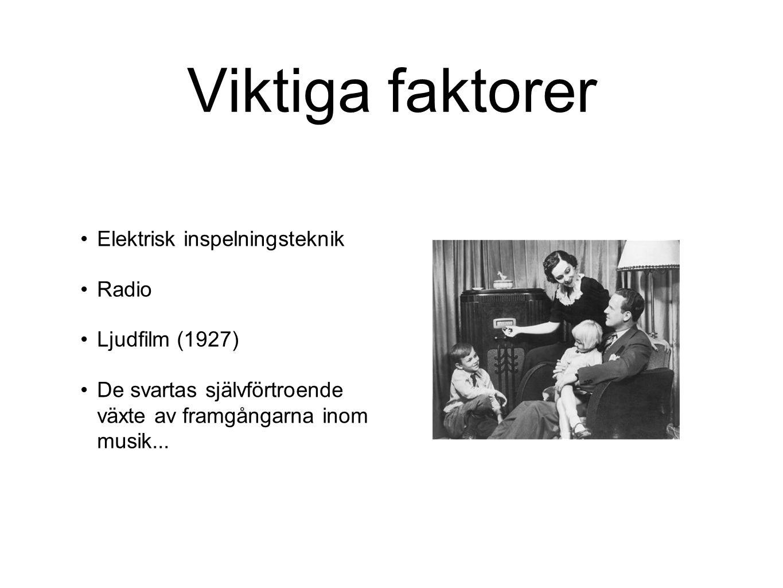Viktiga faktorer Elektrisk inspelningsteknik Radio Ljudfilm (1927)