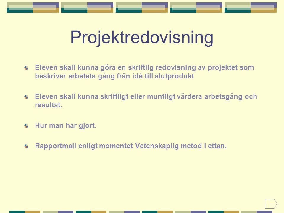 Projektredovisning Eleven skall kunna göra en skriftlig redovisning av projektet som beskriver arbetets gång från idé till slutprodukt.