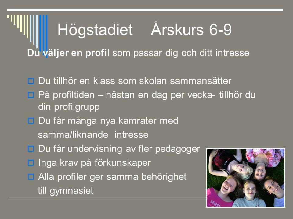 Högstadiet Årskurs 6-9 Du väljer en profil som passar dig och ditt intresse. Du tillhör en klass som skolan sammansätter.