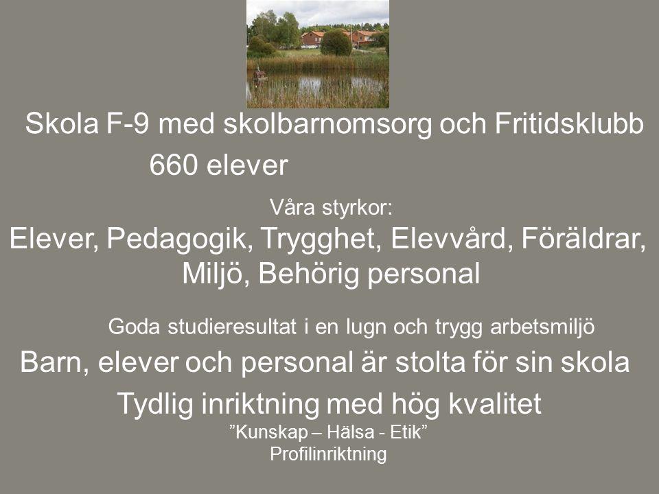 Skola F-9 med skolbarnomsorg och Fritidsklubb 660 elever
