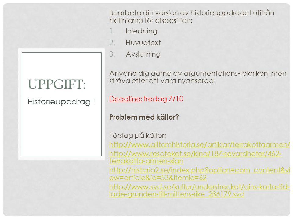 UPPGIFT: Historieuppdrag 1
