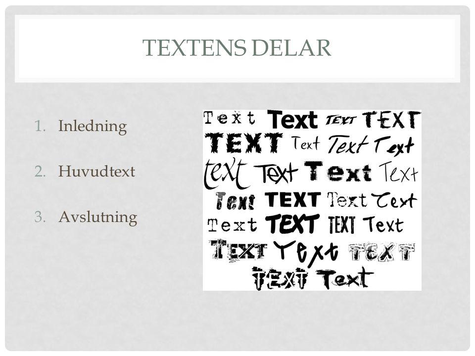 Textens delar Inledning Huvudtext Avslutning