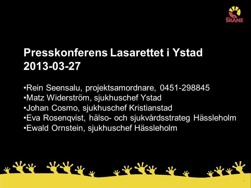 Presskonferens Lasarettet i Ystad 2013-03-27
