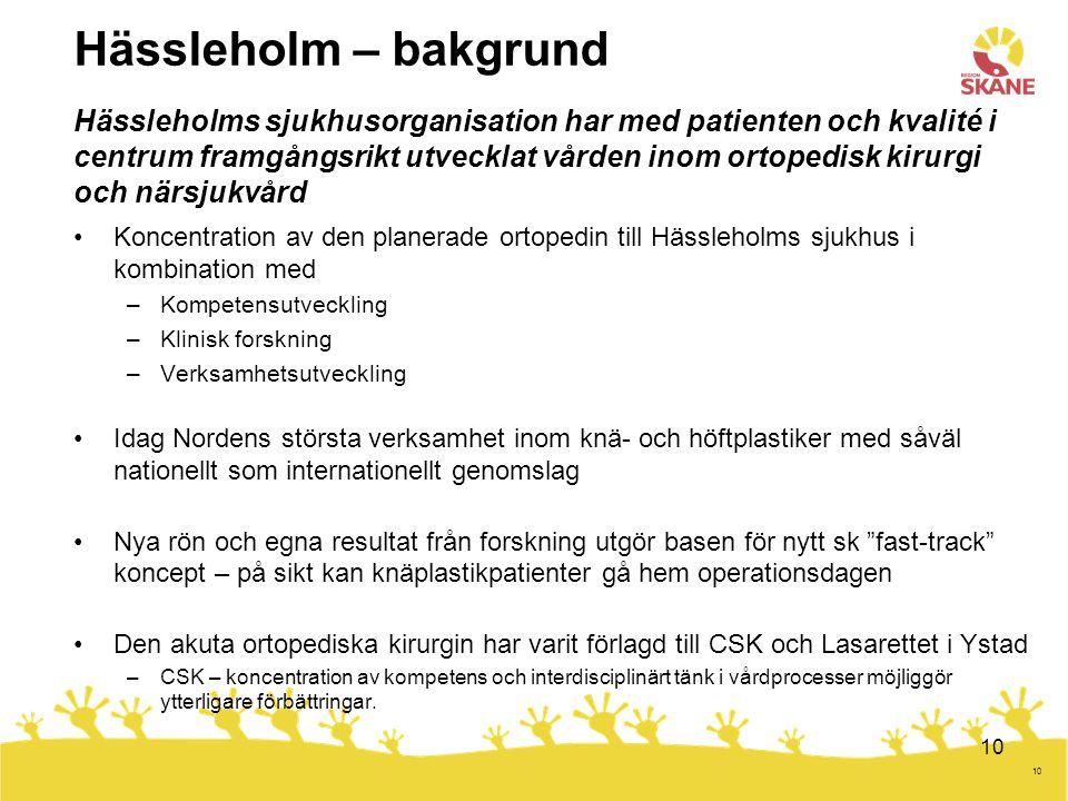 Hässleholm – bakgrund Hässleholms sjukhusorganisation har med patienten och kvalité i centrum framgångsrikt utvecklat vården inom ortopedisk kirurgi och närsjukvård