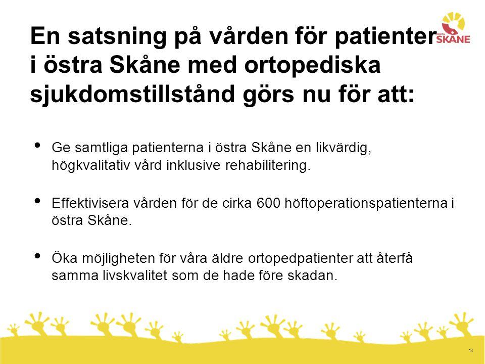 En satsning på vården för patienter i östra Skåne med ortopediska sjukdomstillstånd görs nu för att: