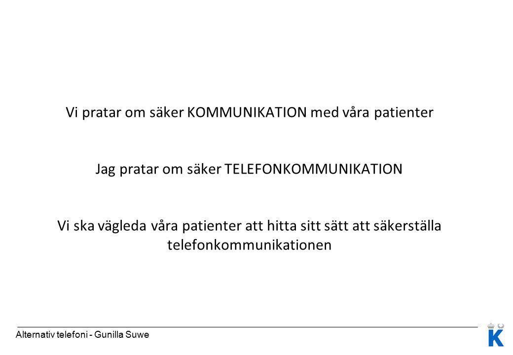 Vi pratar om säker KOMMUNIKATION med våra patienter Jag pratar om säker TELEFONKOMMUNIKATION Vi ska vägleda våra patienter att hitta sitt sätt att säkerställa telefonkommunikationen