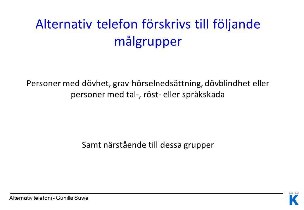 Alternativ telefon förskrivs till följande målgrupper