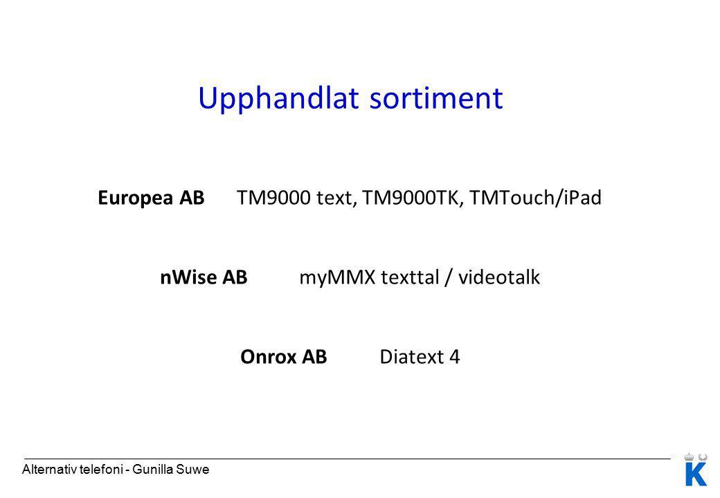 Upphandlat sortiment Europea AB TM9000 text, TM9000TK, TMTouch/iPad nWise AB myMMX texttal / videotalk Onrox AB Diatext 4