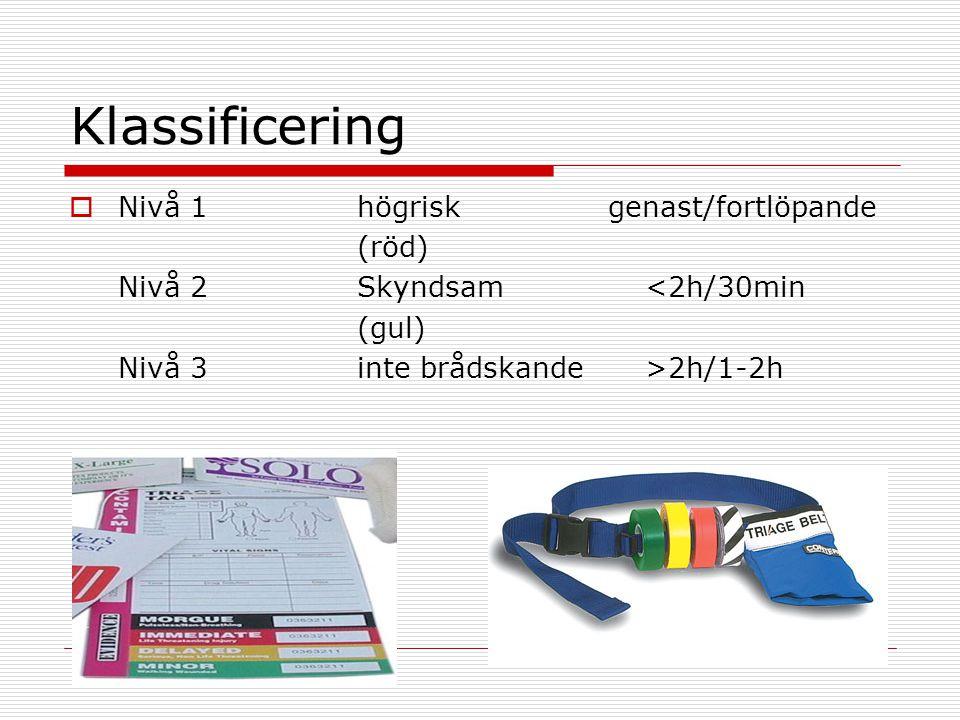 Klassificering Nivå 1 högrisk genast/fortlöpande (röd)