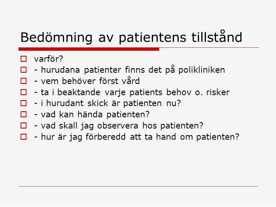 Bedömning av patientens tillstånd
