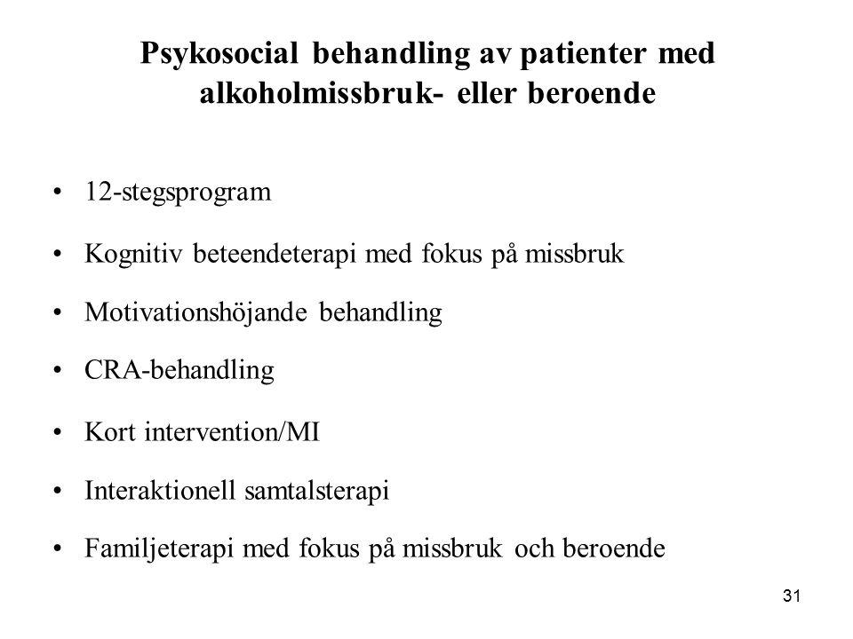 Psykosocial behandling av patienter med alkoholmissbruk- eller beroende