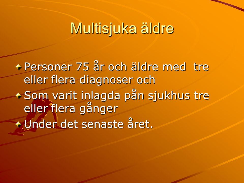 Multisjuka äldre Personer 75 år och äldre med tre eller flera diagnoser och. Som varit inlagda pån sjukhus tre eller flera gånger.