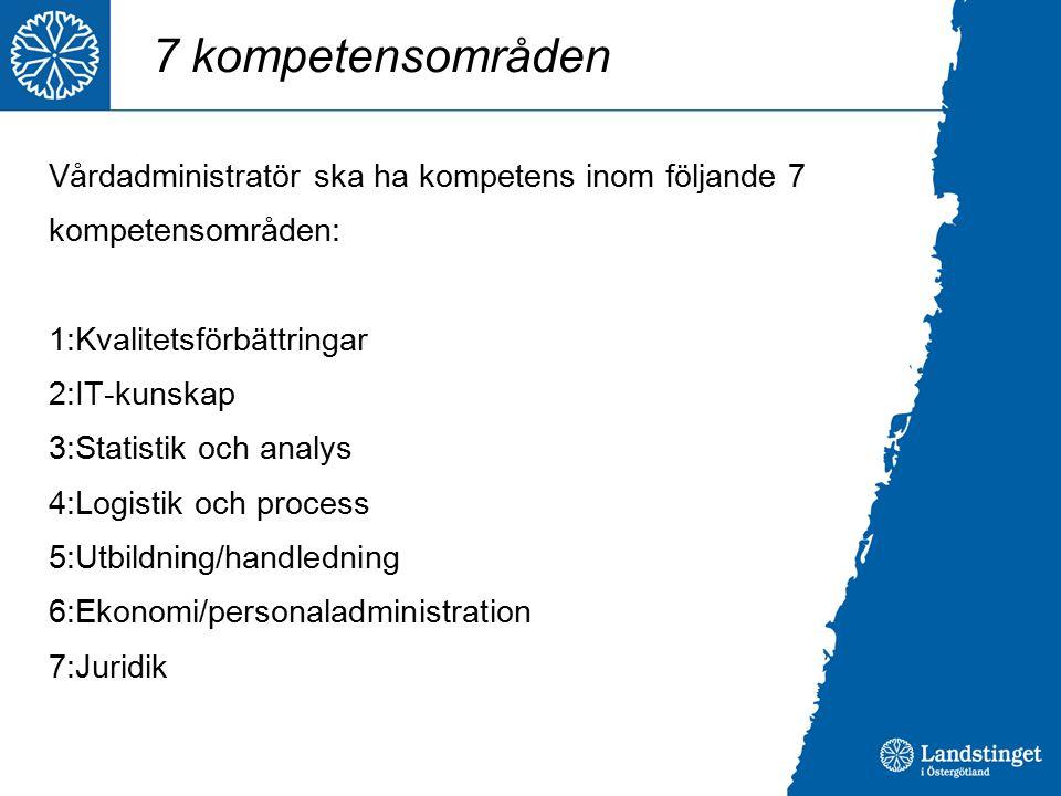 7 kompetensområden Vårdadministratör ska ha kompetens inom följande 7