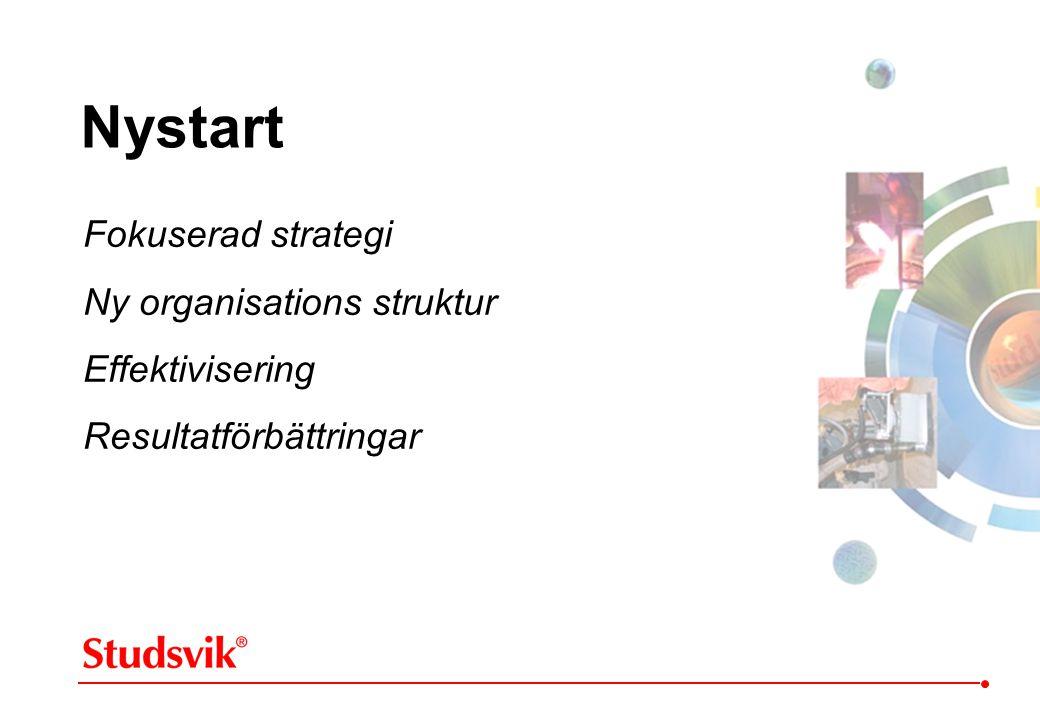 Nystart Fokuserad strategi Ny organisations struktur Effektivisering
