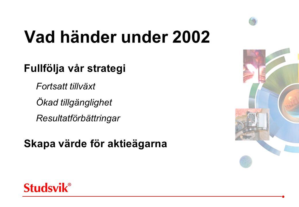 Vad händer under 2002 Fullfölja vår strategi