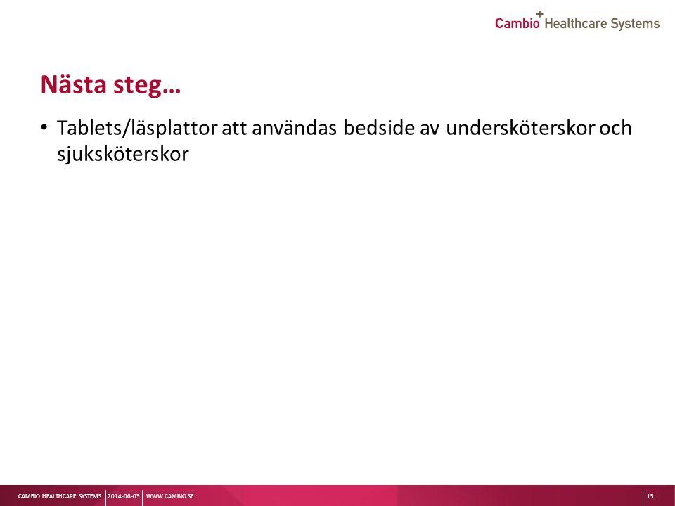 Nästa steg… Tablets/läsplattor att användas bedside av undersköterskor och sjuksköterskor. 2014-06-03.
